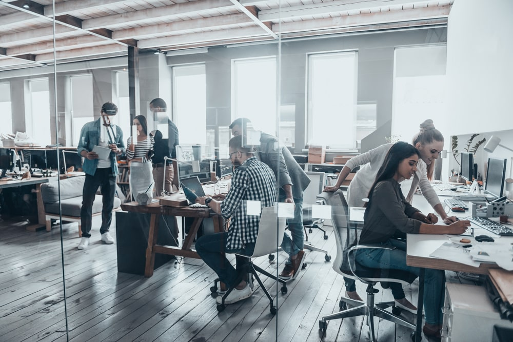 Employees in hip office space
