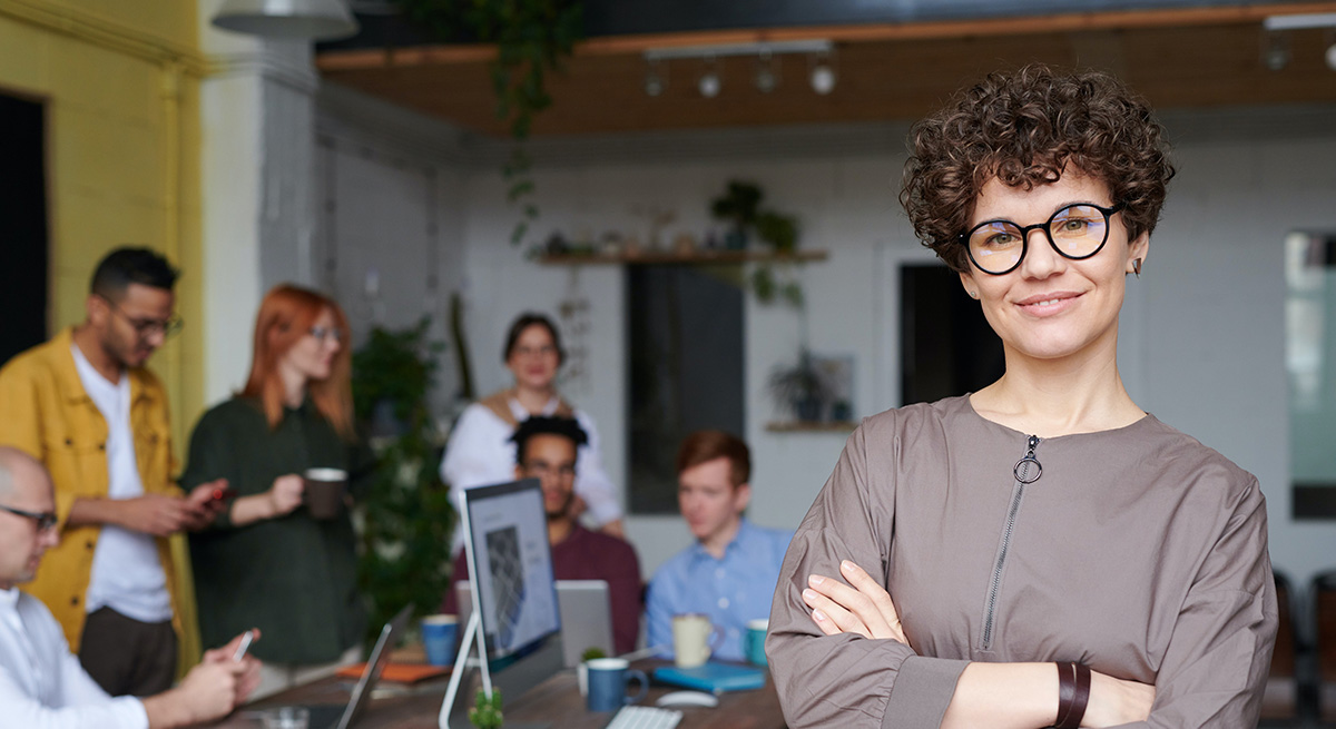 A development-centered leader works with her team
