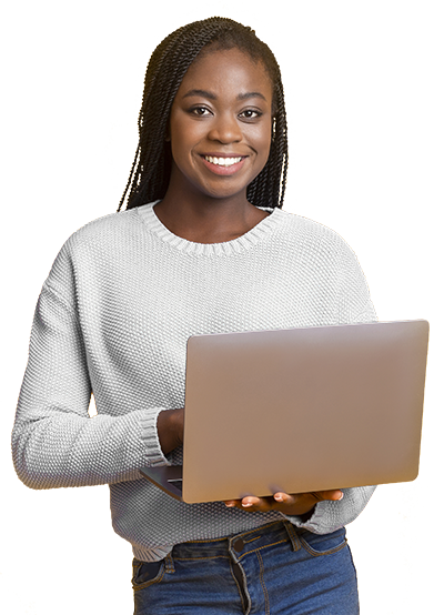 Woman with laptop 360 degree feedback
